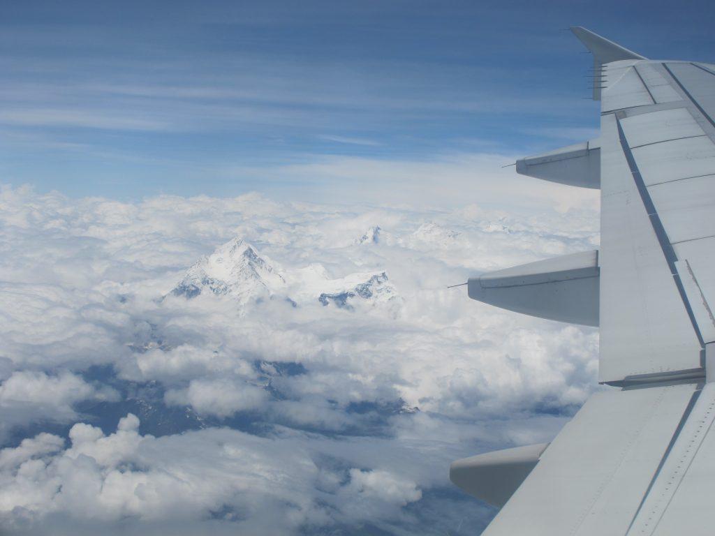 vista desde el aire del monte everest en el vuelo de Kathmandu a Lhasa